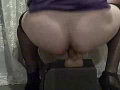 Crossdresser Riding Dildo