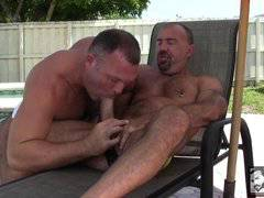 Two daddies fuck outside