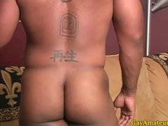 Straight ebony guy getting handjob