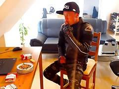 Another dainese biker leather jacket smoke and wank