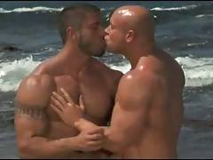 Bodybuilders make love on the beach