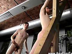 Gay orgy Victim Aaron gets a whipping, then
