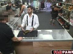 Sexy gay blows a cock in public store