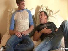 Sexy gays banging their asses in bedroom
