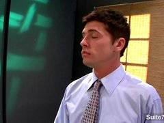 Gay gets fucked and facialized at work