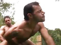 The neighbor watches two guys fucking