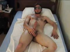 Exciting hairy hunk jerks off