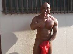 Str8 japanese muscle jerk & cum public