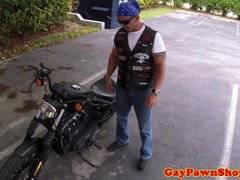 Mature biker facialized in a gaysex cash deal