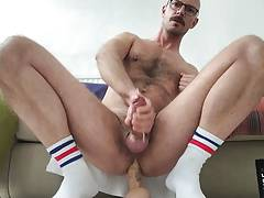 Sitting on a dildo and wank until cum
