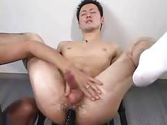 horny japanese hunk is made to cum twice in white socks