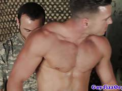 Hunk in muscle group getting cumcovered