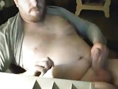 Hot daddy bear stroking with poppers