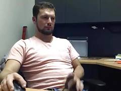 Handsome dude jerking at office