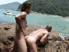 Horny Latino Gay loves seaside anal pounding