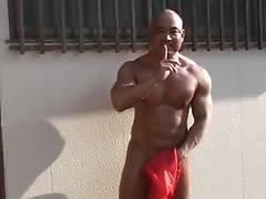 Muscle Asian Outdoor Jerk Off & Cum