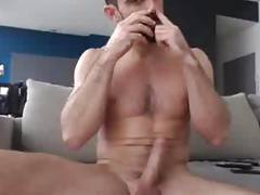 Bearded Ripped Stud Uses Poppers & Cums On Cam