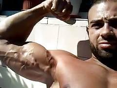 Bulgarian bodybuilder flexing