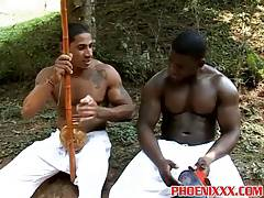 Hunk gay studs big black cocks are out in the woods for sex