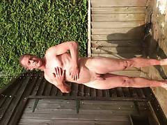 Naked outdoor shower