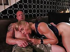 Blond perfection sucking and eating it all