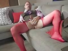 Sexy Daddy cums in nylon gear